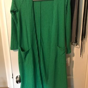 Lularoe Sarah XS green ribbed cardigan